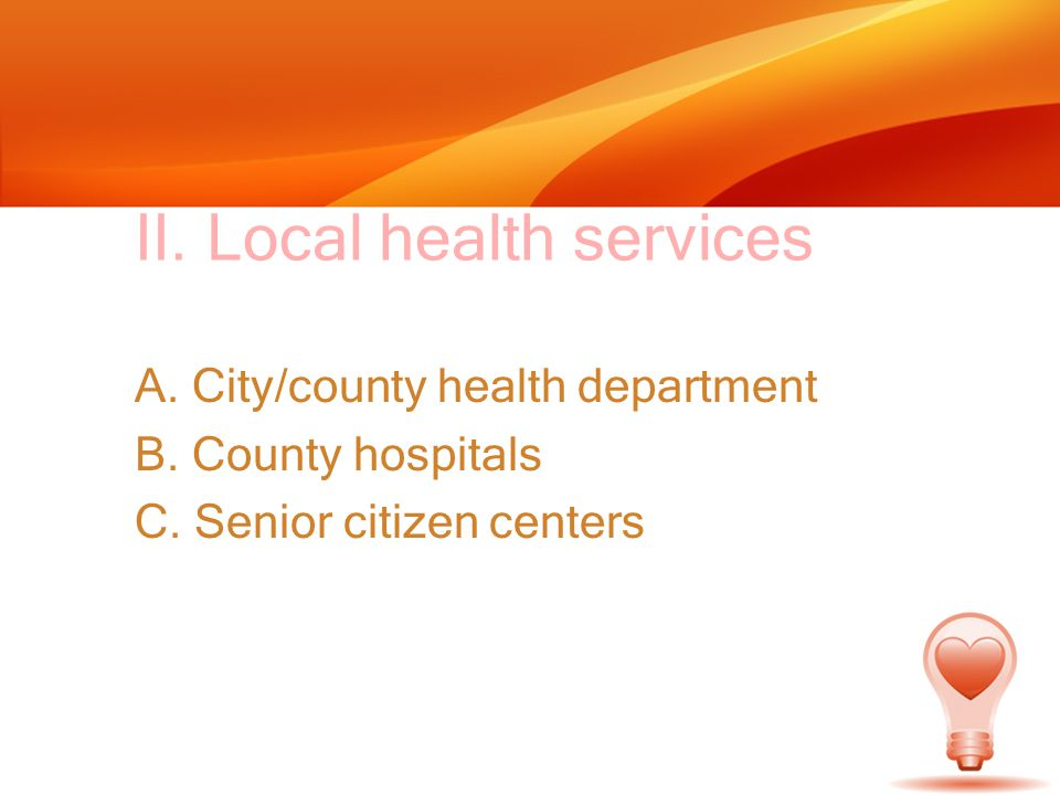 II. Local health services