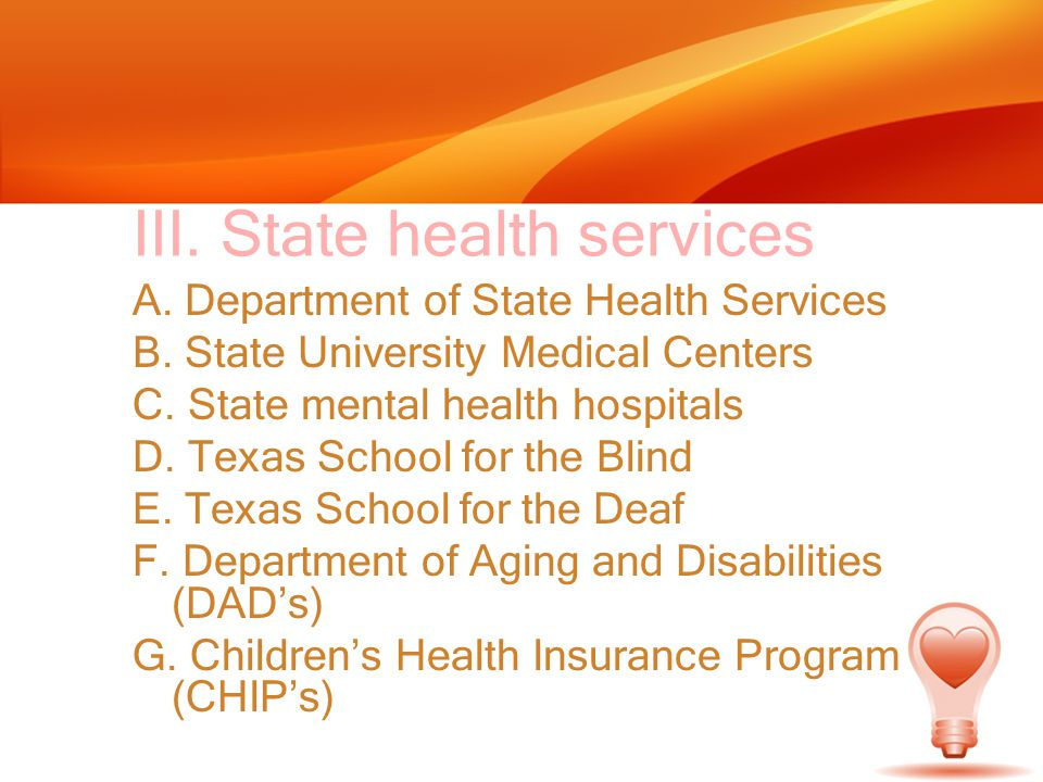 III. State health services