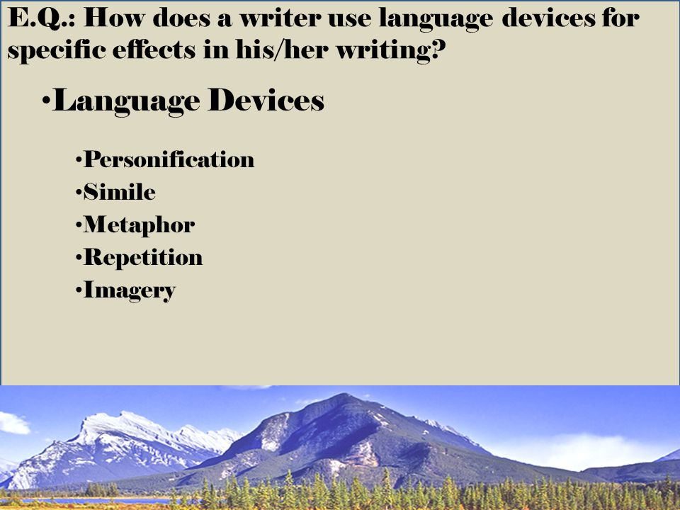 Language Devices Personification Simile Metaphor Repetition Imagery