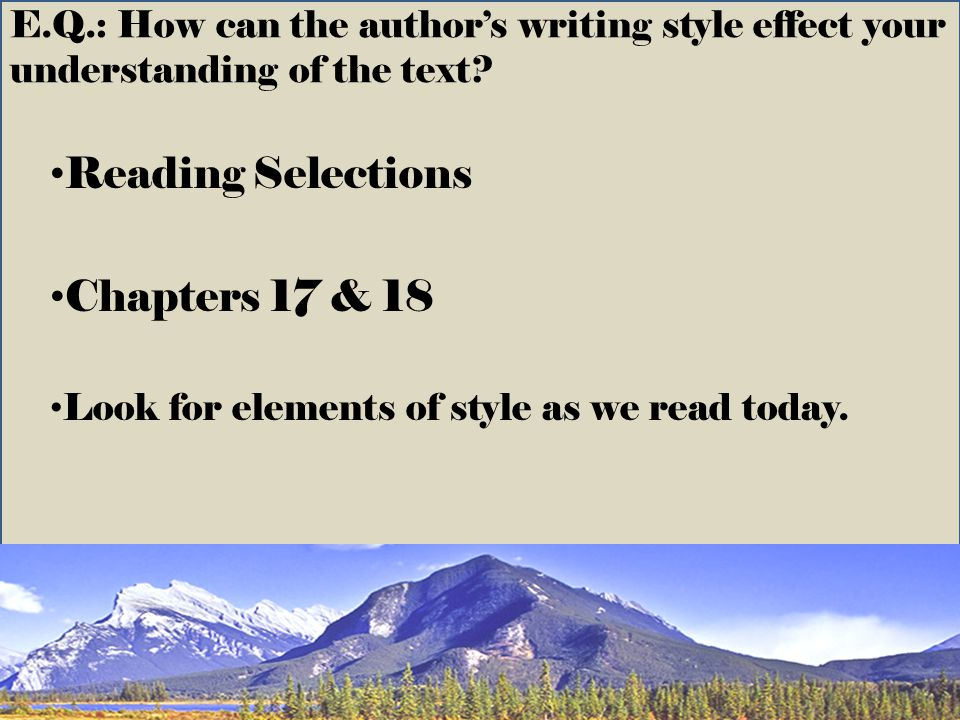 Reading Selections Chapters 17 & 18