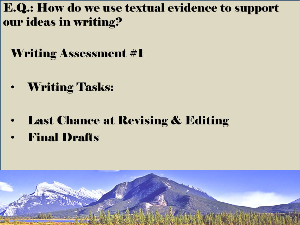 E.Q.: How do we use textual evidence to support our ideas in writing