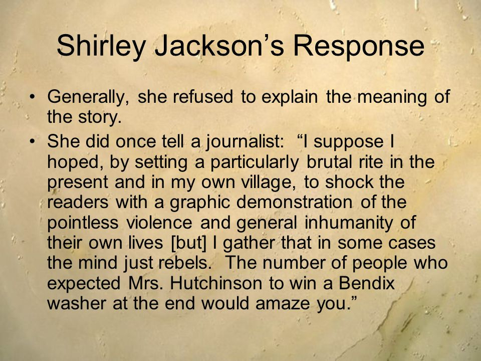 irony essay lottery shirley jackson Find irony in the lottery example essays, research papers, term papers, case studies or speeches the irony in 'the lottery'shirley jackson wrote the story.