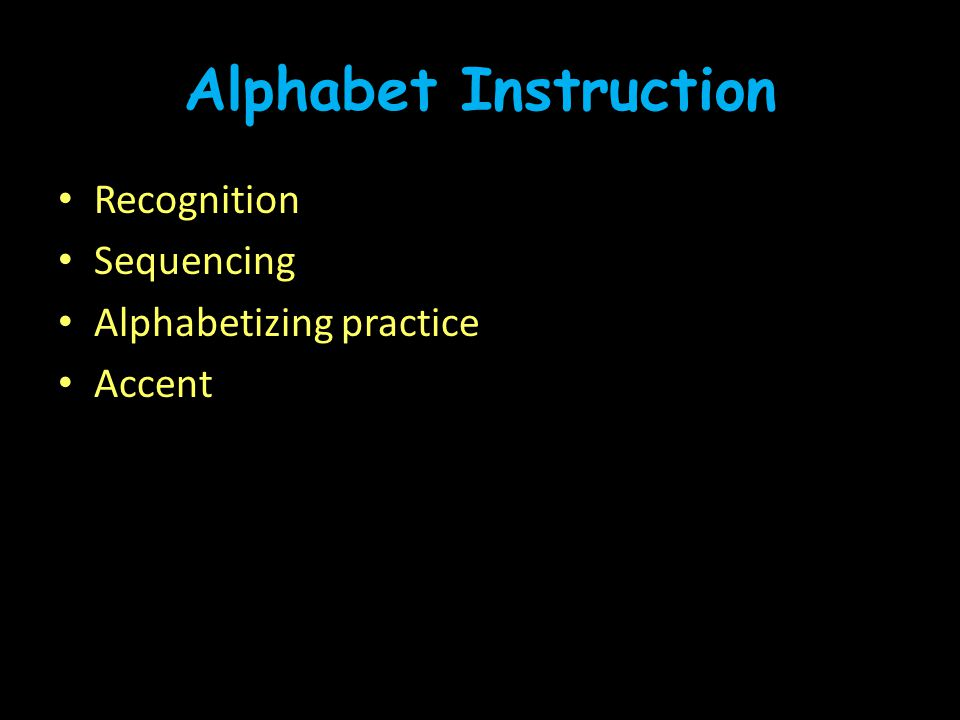 Alphabet Instruction Recognition Sequencing Alphabetizing practice