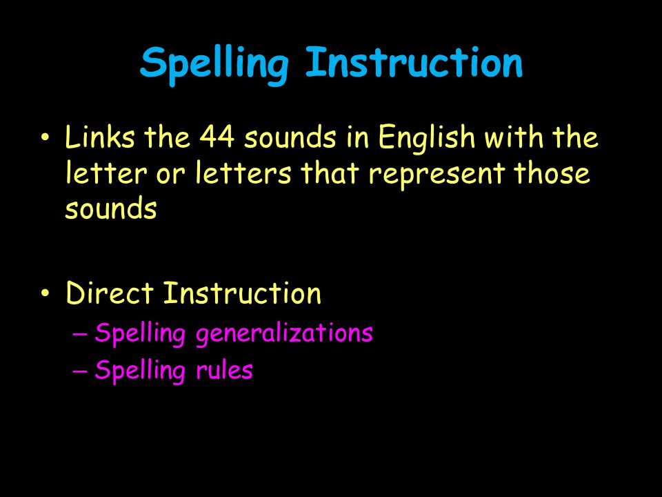 Spelling Instruction Links the 44 sounds in English with the letter or letters that represent those sounds.