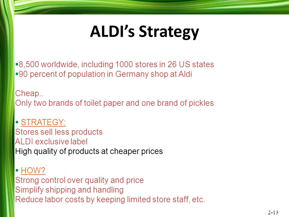 ALDI's Strategy 8,500 worldwide, including 1000 stores in 26 US states