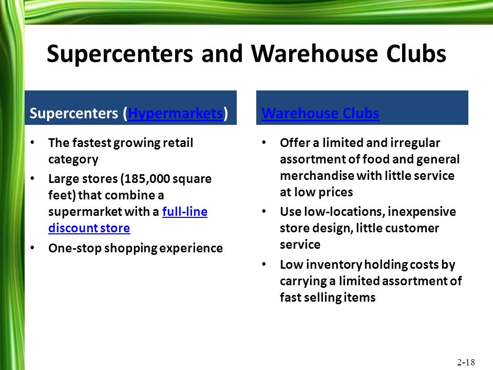 Supercenters and Warehouse Clubs
