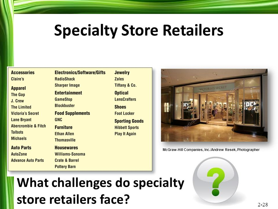 Specialty Store Retailers