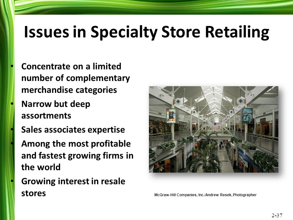 Issues in Specialty Store Retailing