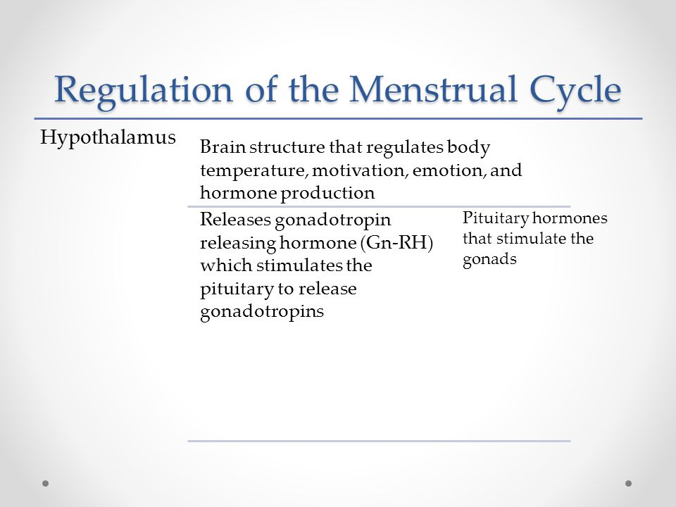 Regulation of the Menstrual Cycle