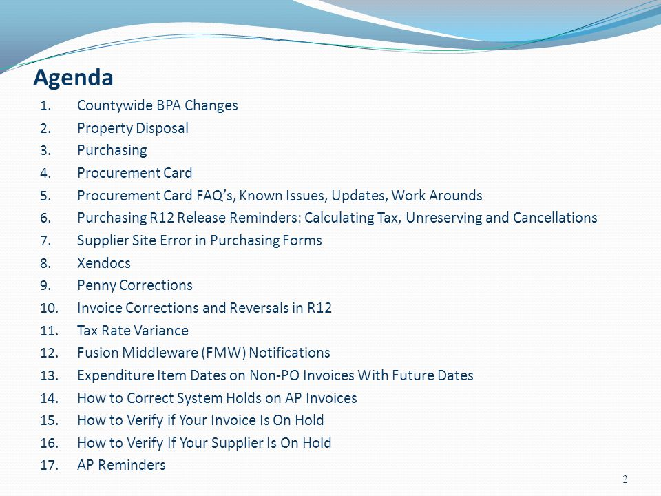 Agenda Countywide BPA Changes Property Disposal Purchasing