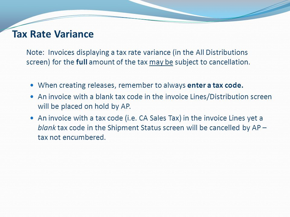 Tax Rate Variance