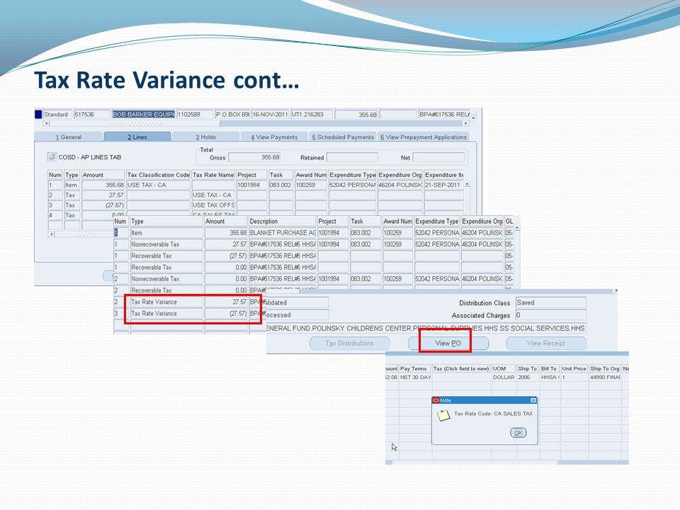 Tax Rate Variance cont…