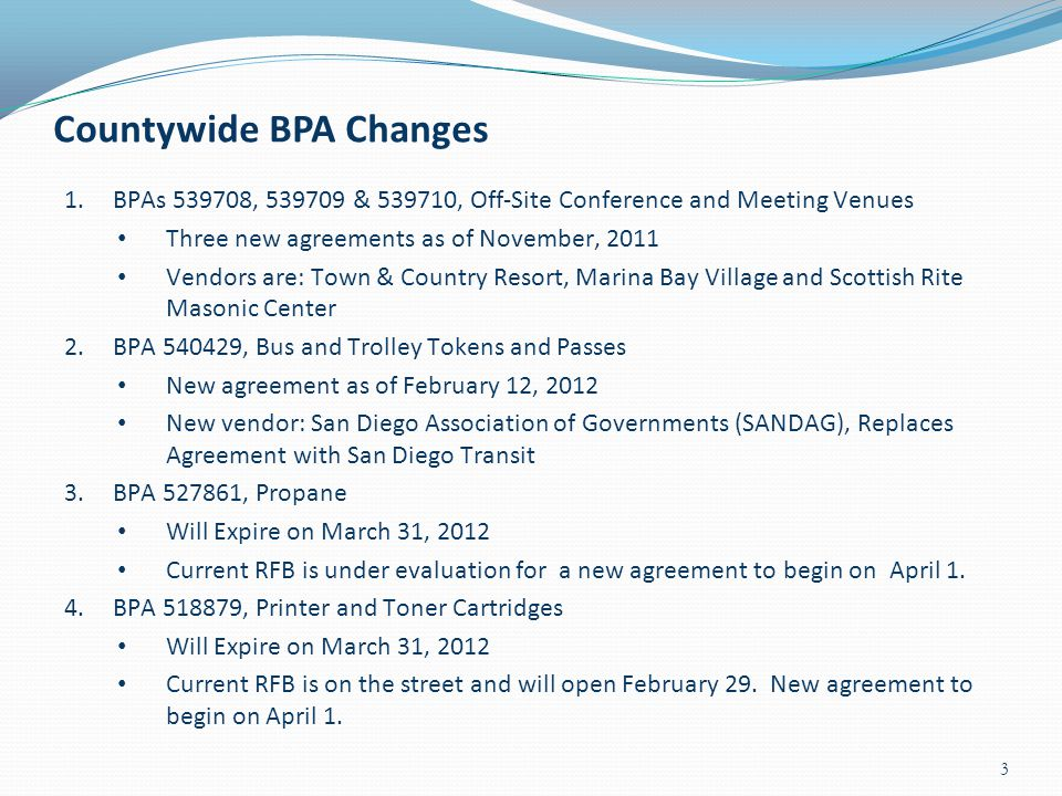 Countywide BPA Changes