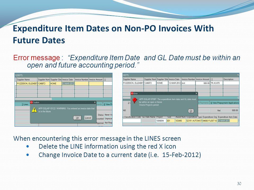 Expenditure Item Dates on Non-PO Invoices With Future Dates