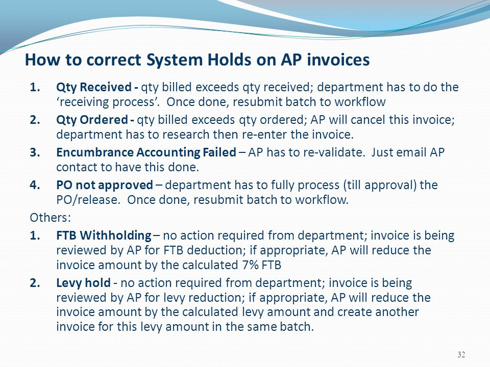 How to correct System Holds on AP invoices