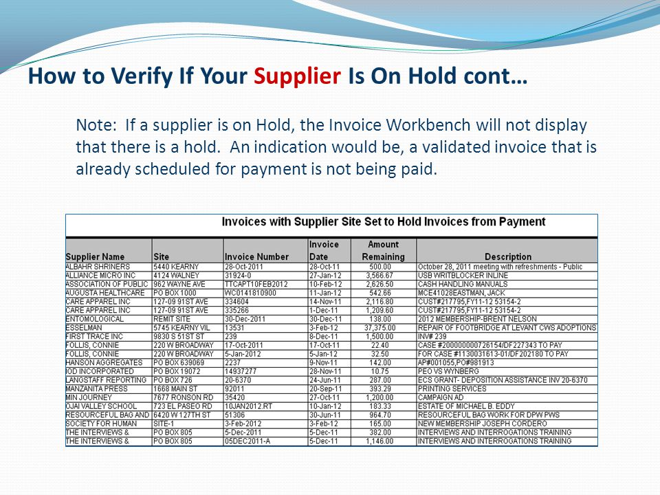 How to Verify If Your Supplier Is On Hold cont…