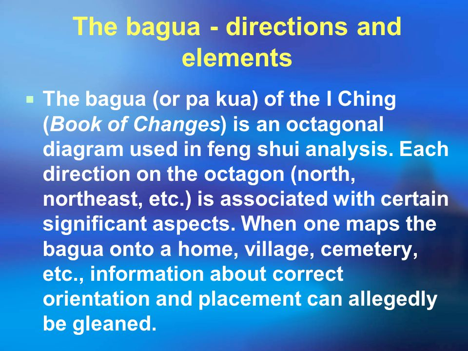 The bagua - directions and elements