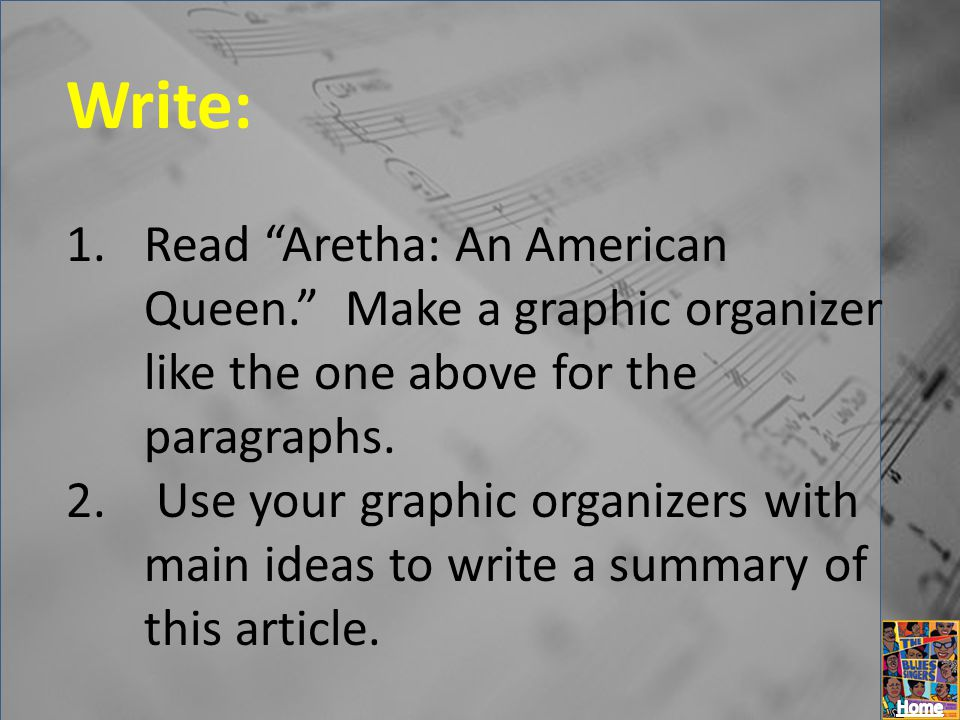 Write: Read Aretha: An American Queen. Make a graphic organizer like the one above for the paragraphs.