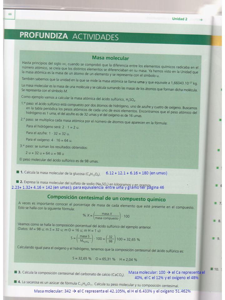 6.12 + 12.1 + 6.16 = 180 (en umas) 2.23+ 1.32+ 4.16 = 142 (en umas); para equivalencia entre uma y gramo ver página 46.