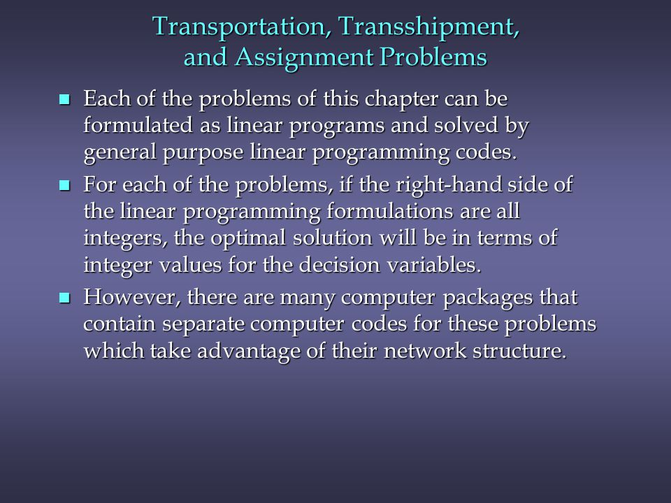 Transportation, Transshipment, and Assignment Problems