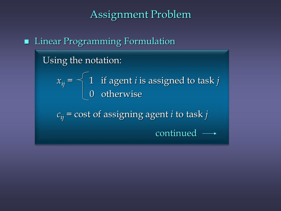 Assignment Problem Linear Programming Formulation Using the notation: