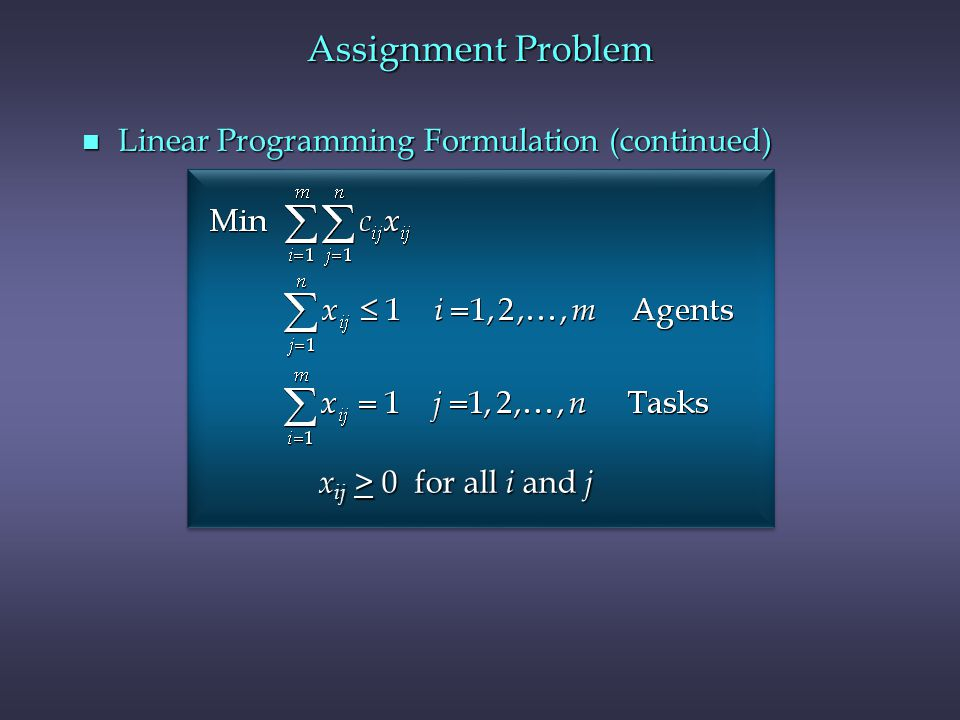 Assignment Problem Linear Programming Formulation (continued)