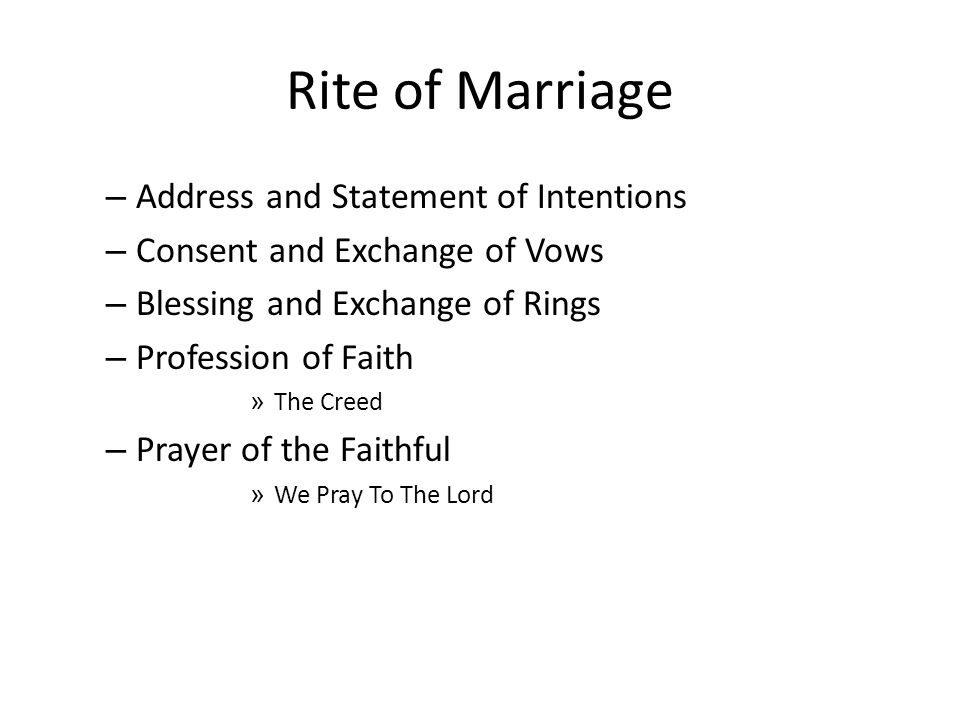 Rite of Marriage Address and Statement of Intentions