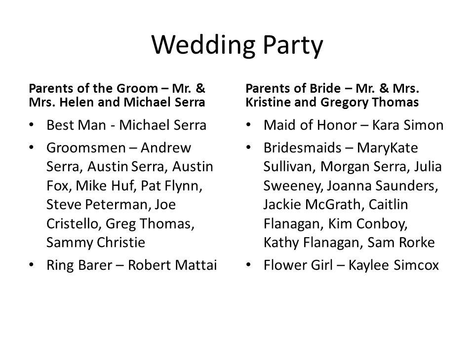 Wedding Party Best Man - Michael Serra