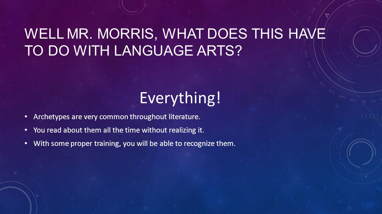 Well Mr. Morris, what does this have to do with language arts