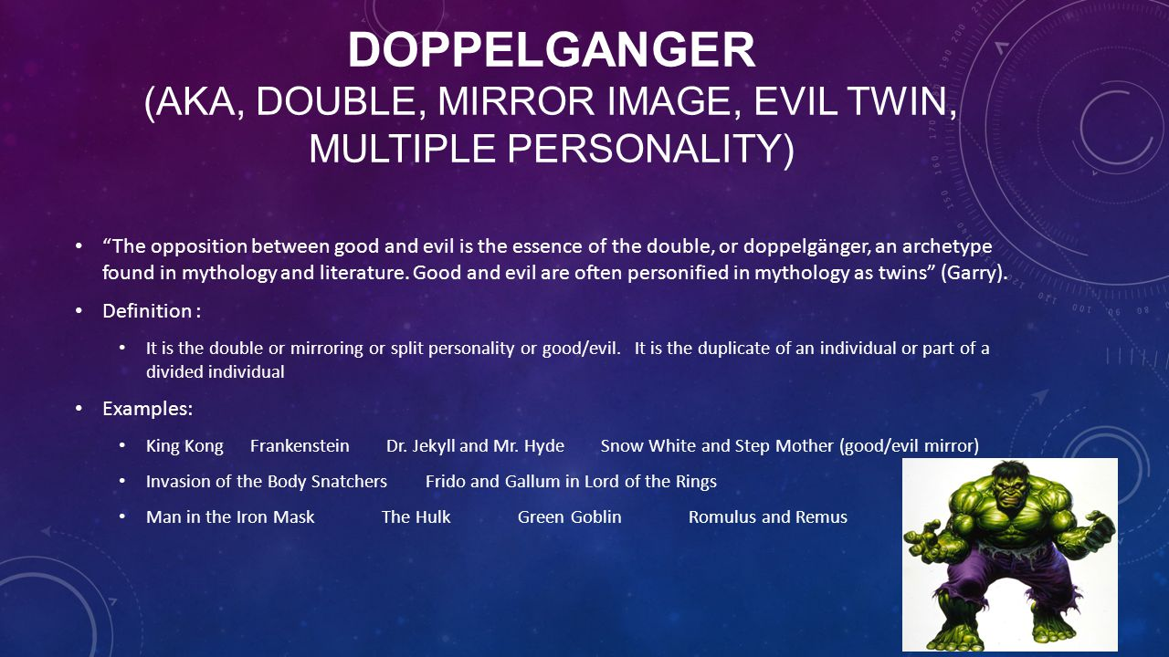 Doppelganger (aka, Double, Mirror Image, Evil Twin, Multiple Personality)