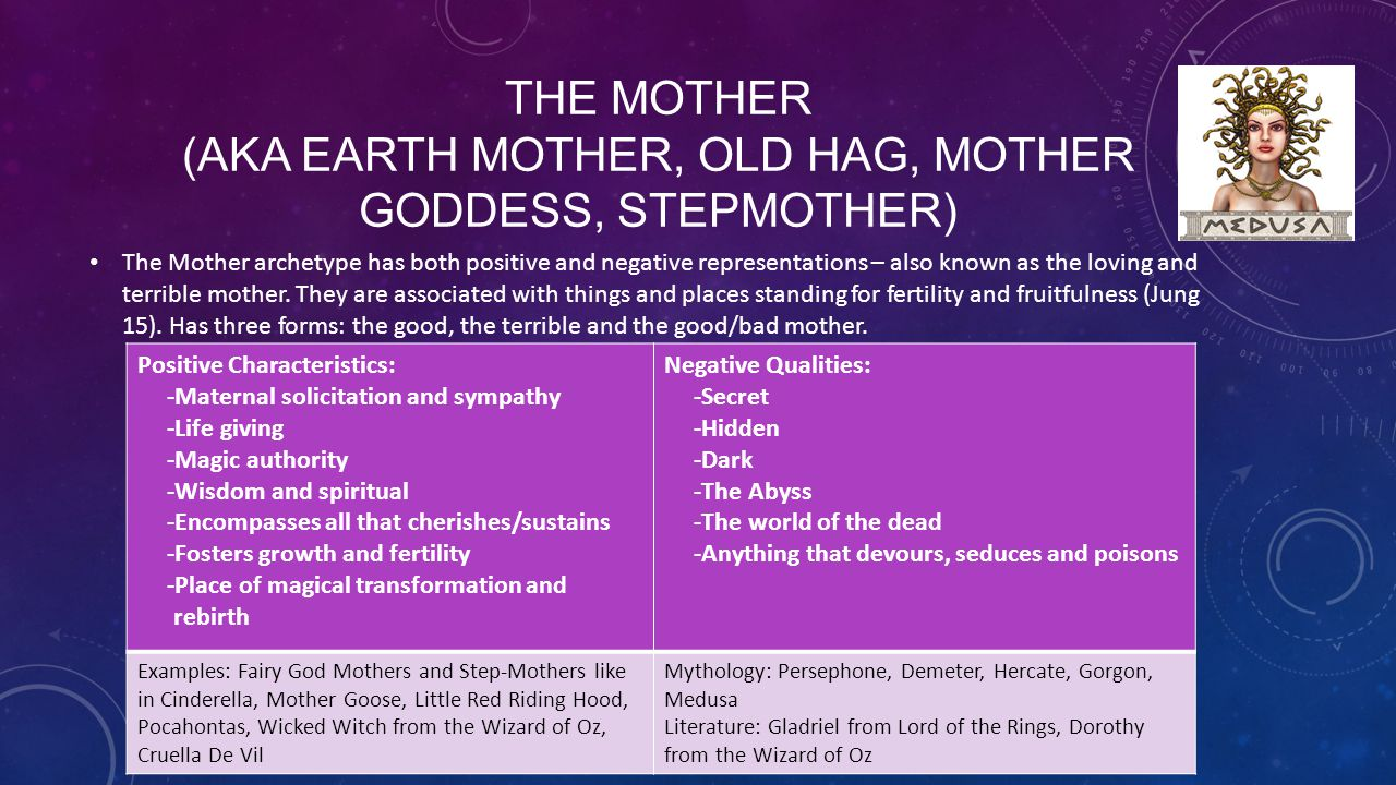 The Mother (aka earth mother, old hag, mother goddess, stepmother)