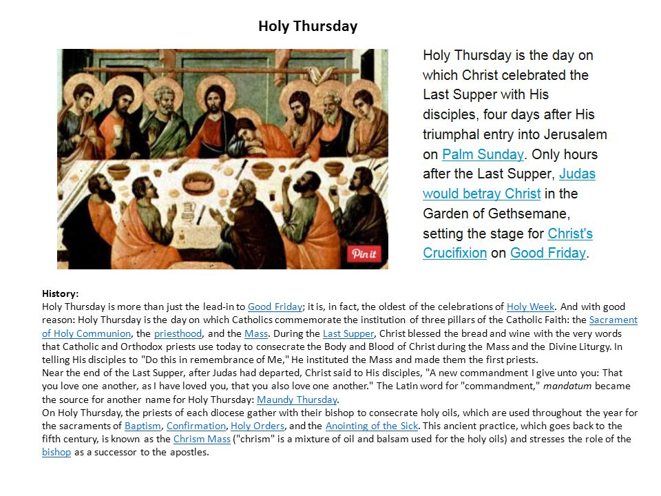 Holy Thursday History: