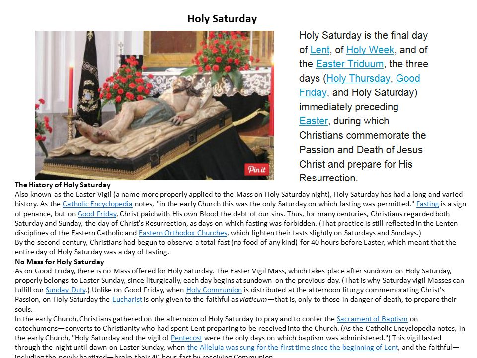Holy Saturday The History of Holy Saturday