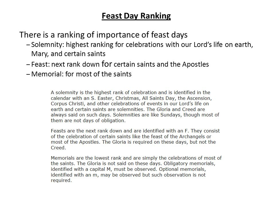 There is a ranking of importance of feast days