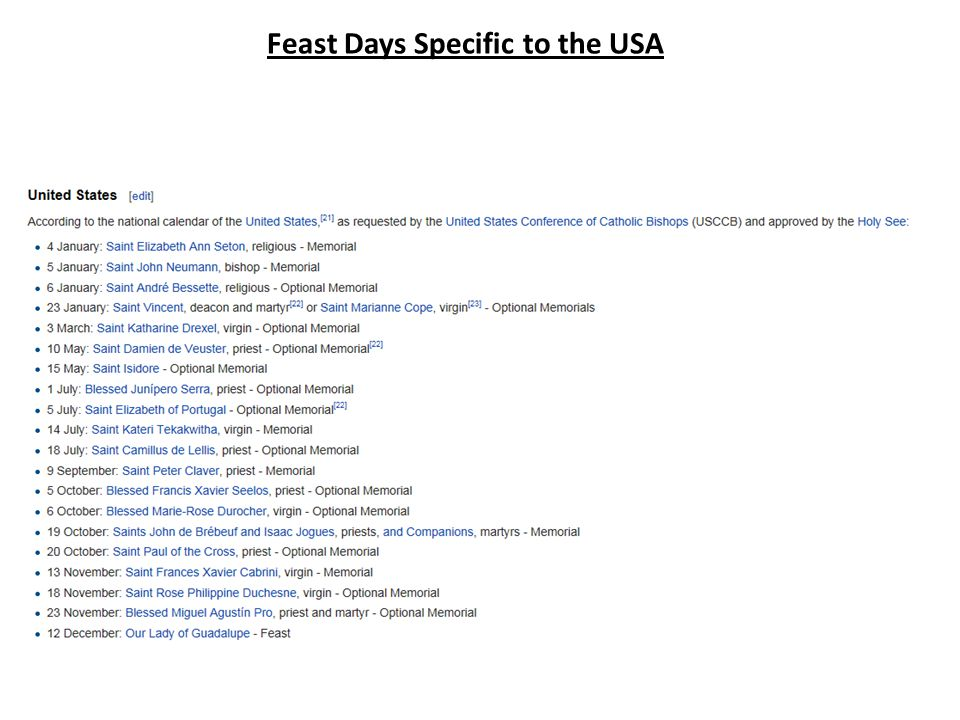 Feast Days Specific to the USA
