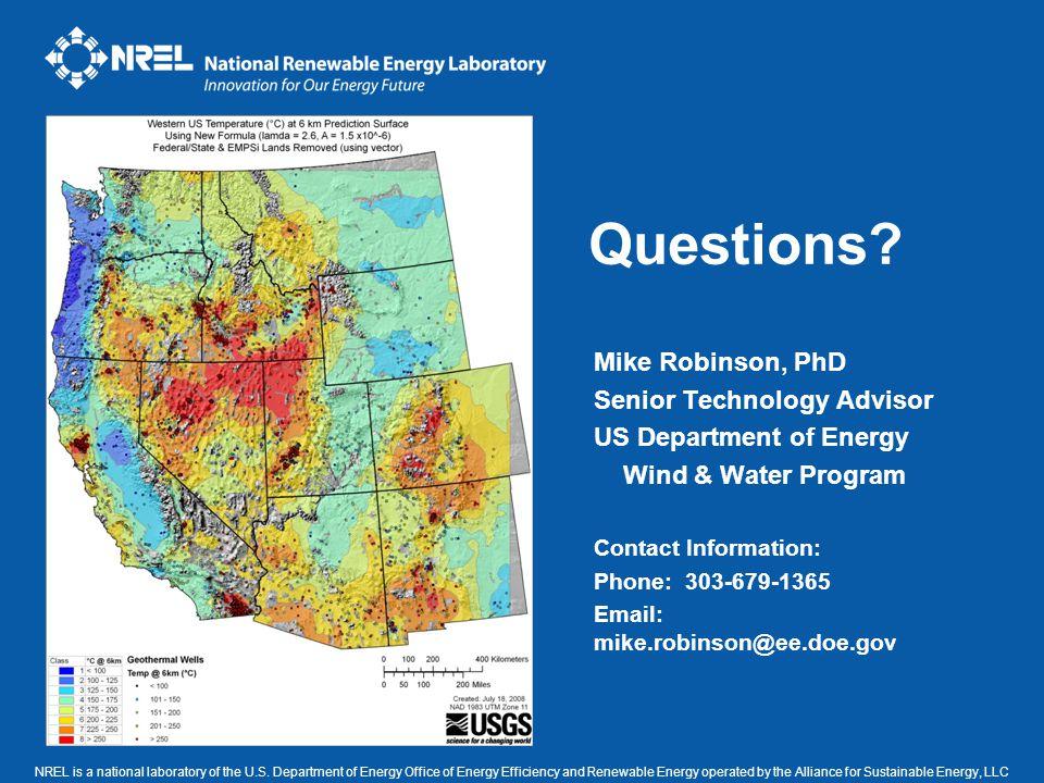 Questions Mike Robinson, PhD Senior Technology Advisor