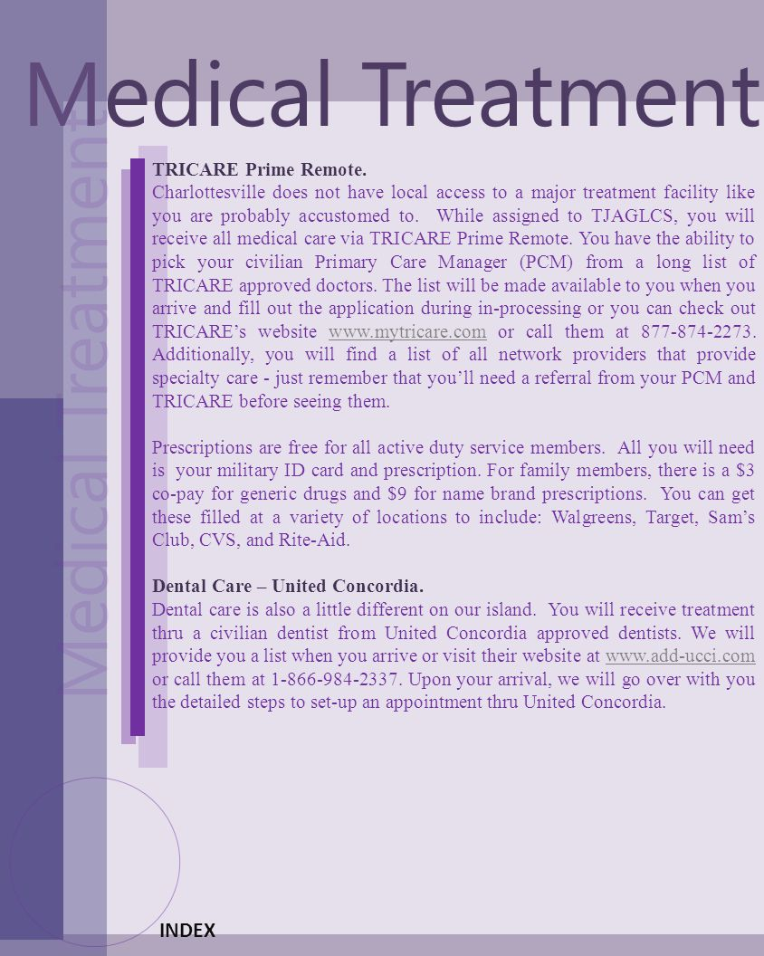 Medical Treatment Medical Treatment INDEX TRICARE Prime Remote.