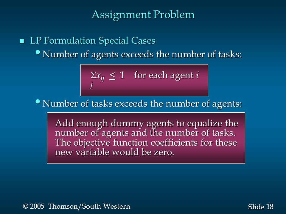 Assignment Problem LP Formulation Special Cases