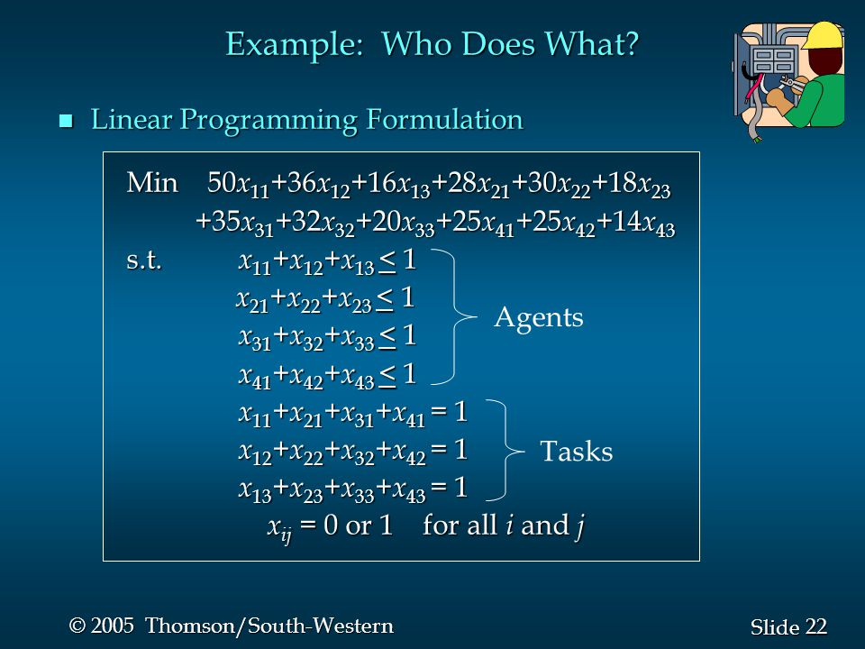Example: Who Does What Linear Programming Formulation