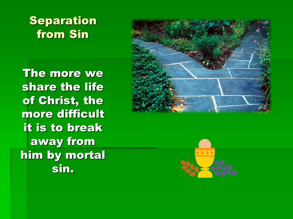 Separation from Sin The more we share the life of Christ, the more difficult it is to break away from him by mortal sin.