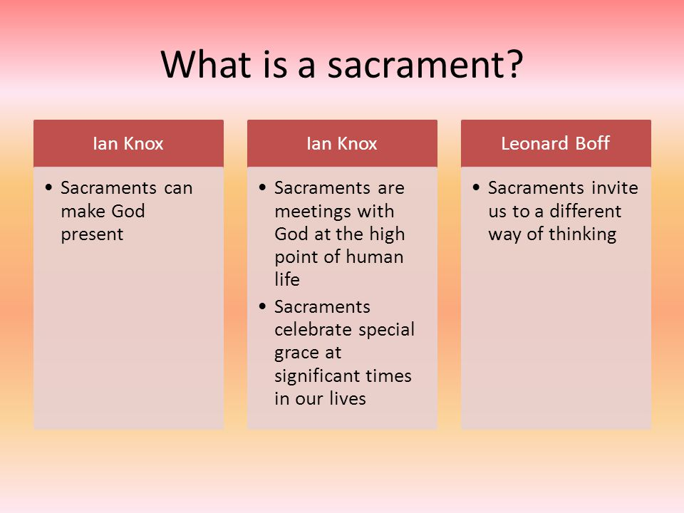 What is a sacrament Ian Knox Sacraments can make God present