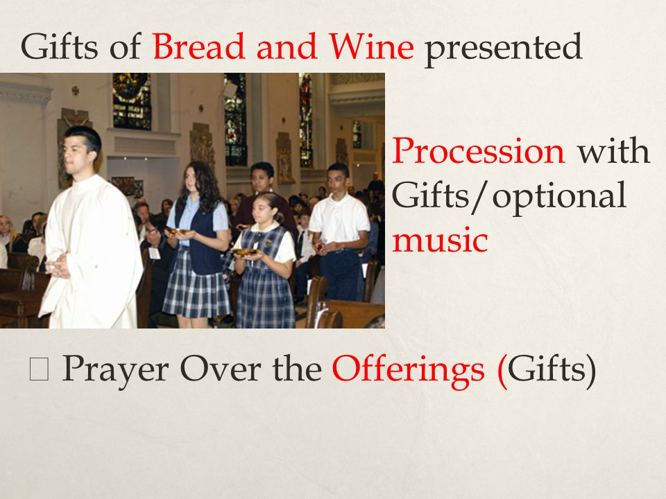 Gifts of Bread and Wine presented