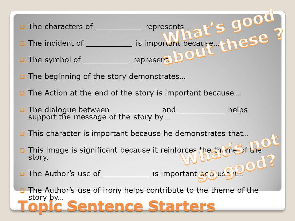 Topic Sentence Starters