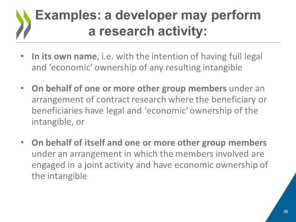Examples: a developer may perform a research activity: