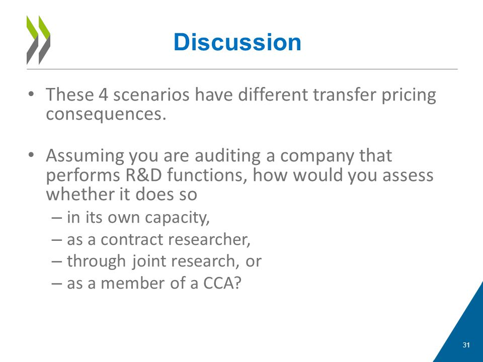 Discussion These 4 scenarios have different transfer pricing consequences.