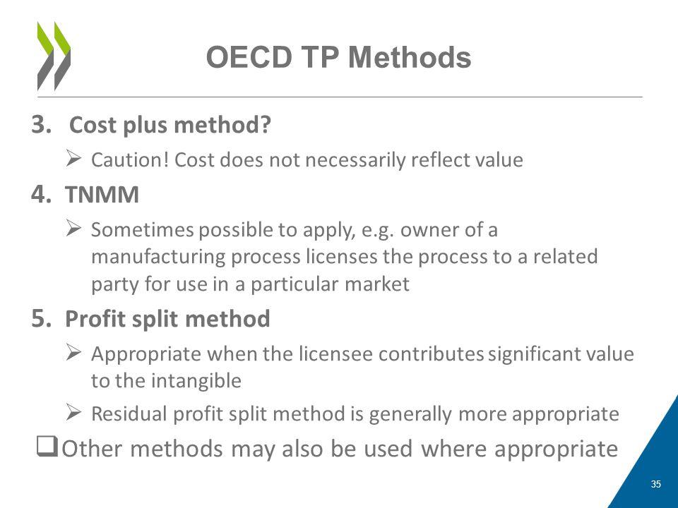 OECD TP Methods Cost plus method TNMM Profit split method