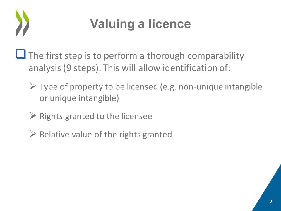 Valuing a licence The first step is to perform a thorough comparability analysis (9 steps). This will allow identification of: