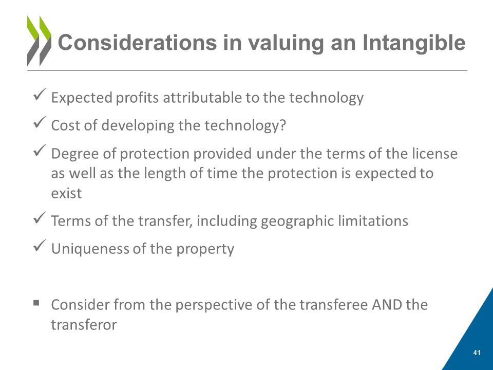 Considerations in valuing an Intangible