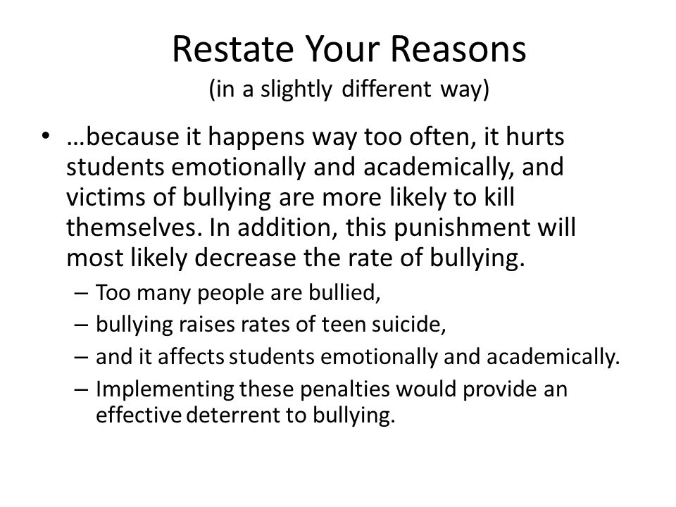 Restate Your Reasons (in a slightly different way)
