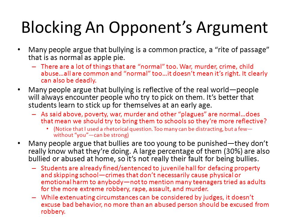 Blocking An Opponent's Argument